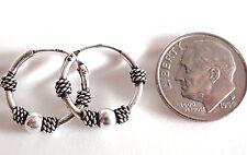 Bali 18mm Rope Style Accented Hoop Earrings 925 Sterling Silver Corona Sun n86d