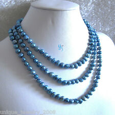 """54"""" 7-8mm Blue Baroque Freshwater Pearl Necklace Strand Jewelry"""