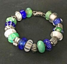 Trollbeads Bracelet Royal Blue Green White Swan Lock includes RETIRED & OOAK