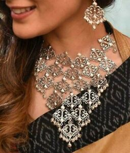 Indian Fashionable Oxidized Silver color Choker Necklace set with Earrings