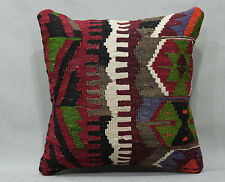 Antique Turkish Rug Pillow Cover Hand Woven Decorative Embroidery 16x16 inches