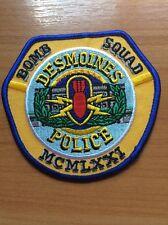 PATCH POLICE DESMOINES  BOMB SQUAD ( MCMLXXI ) IOWA IA STATE