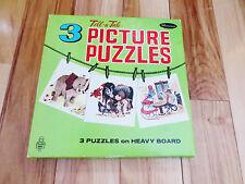1950s Whitman Tell-a-Tale Picture Three (3) Puzzles Heavy Board Original Box Set