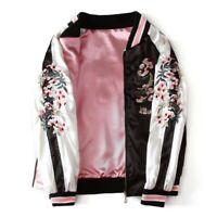 Womens Reversible Satin Embroidery Baseball Jacket Flower Outwear Sukajan Coat L