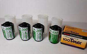 Lot of 5 Rolls Fujicolor 200 100 24exp TMAX 100 Black White Film Kodak Expired