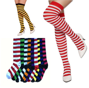 Women Girls Cotton Striped Thigh High Stockings Over The Knee OTK Socks S/M Slim