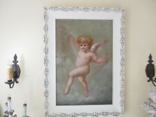 HUGE ANTIQUE VINTAGE FRAMED OIL PAINTING CHERUB ANGEL PUTTI  VICTORIAN