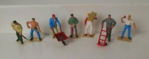 Plasticville Or Similar O S Soft Plastic Workers Figures (7 Pieces)
