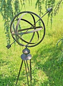 Armillary Sphere Garden Stand Ornament Lawn Patio Metal Gift Present Quirky