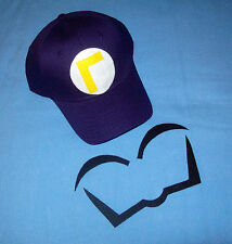 "Super Mario WALUIGI Costume Face Pieces & Hat w/ Reversed Letter ""L"" Emblem"
