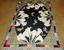 Cala Lilly ~ Lilies & Hummingbirds Tapestry Afghan Throw