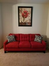 Red Living Room Set with 2 Black & White Wing back Chairs