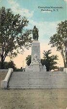Plattsburgh New York~12 Steps to Samuel de Champlain Statue~Canoe, Indian~1912