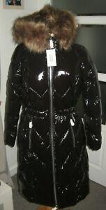 V by Very Long High Shine Padded Coat - Black UK Size 10