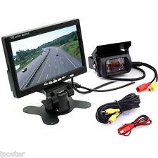 """HD 7"""" TFT LCD Rear view Monitor + 18 IR LEDs Backup Camera For Truck Bus Van Kit"""