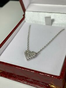 Silver 925 Women's Heart Shape Pendant Necklace With Created Diamond