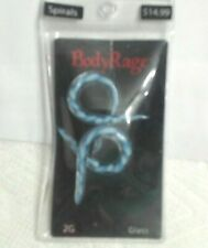 Body Rage Blue & White Glass 2G Spirals, New In Package