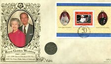 DELONG BENHAM Royal Golden Wedding COIN COVER 1997 Santa Lucia 1947 Uno Shilling Coin