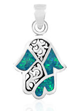 925 Sterling Silver & Opal Hamsa Pendant - Jewish Jewelry Protection Luck Charm