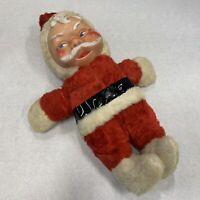 "Vintage Plush With Rubber Face & Shoes 18"" Santa Claus Creepy No Beard Elf"
