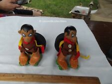 Lot of 2 1970 Remco Clever Finger Dolls Ding Spunky Monkey Boots Roller Stakes