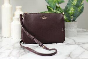 Kate Spade Jackson Chocolate Cherry Leather Triple Gusset Crossbody Handbag