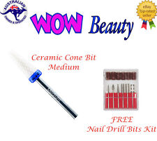 NSI Ceramic Nail Drill Bit - Cone Bit - Medium + Free Nail Drill Bit Kit
