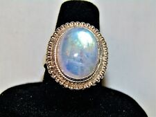 Sale! > 8 CT MOONSTONE RING STERLING SILVER FINE NATURAL BLUE GLOW CABOCHON 7