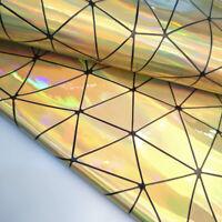 1Yard Holographic Geometric Iridescent Pu Leather Fabric Bag Clothe DIY Material