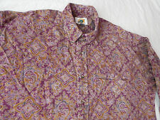 Psychedelic Paisley Purple Long Sleeve Casual Shirt - Mens Large Hippie L
