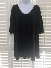 EILEEN FISHER ~ Black Linen knit tunic top w/ short sleeves and scoop neckline ~
