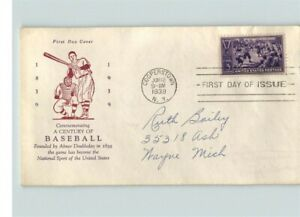 BASEBALL Centennial, # 855 First Day of Issue, cancelled June 12, 1939 Coopersto