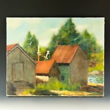 Signed Bryan Quirk Fish Houses in Back Cove Landscape Oil Painting Listed Nr Wsc