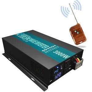 3000W Pure Sine Wave Power Inverter 36V to 110V 120V DC to AC Remote Switch RV