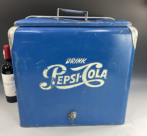 Vintage 1950's Pepsi Cola Blue Metal Picnic Cooler Ice Chest W/Bottle Opener