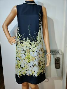 NEW HOBBS FLORAL DRESS SIZE UK 12 US 8 GREY YELLOW 49%COTTON 100% POLYESTER