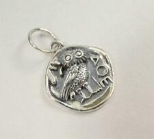Sterling Silver Ancient Athena Owl Coin Organic Round Small Charm Pendant Unique