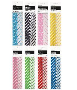 Polka Dots 10 Paper STRAWS - Spots Spotty Birthday Party Baby Shower Supplies