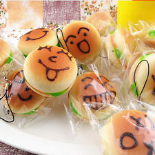 11cm Jumbo Squishy Expression Hamburger Phone Straps Soft Face Bread Bun CharmsG