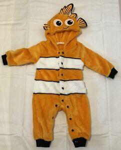 Nemo Halloween Costume Infant 0-6 Months Jumpsuit Romper Hooded Plush Warm