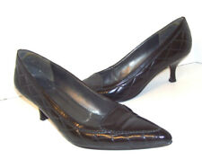 Stuart Weitzman Heels Shoes 9 Quilted Black Patent Leather SPAIN