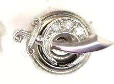 Antique Victorian 10k White Gold MASONIC Mason Diamond Lapel Pin #N936