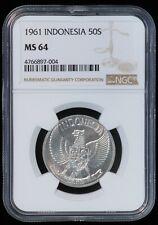 1961 50 Sen Indonesia Aluminum Coin (NGC MS 64 MS64) KM# 14 (B3368)