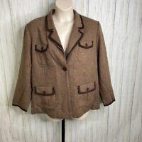 Dialogue women's size 3X Brown Tweed Wool  Blend Jacket Blazer  NWT