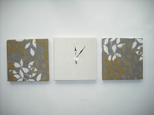 3 PISTACHIO LIME GREEN GREY BEIGE CREAM LEAVES FABRIC WALL HANGINGS CLOCK SET