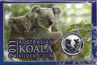 Koala 2011 1A$ 1 Unze Silber BU im original Blister / Card  nur 11.865Ex.!