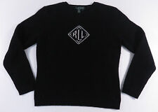 RALPH LAUREN LRL LAMBSWOOL BIG LOGO KNIT CREW NECK WOMENS SWEATER POLO LARGE