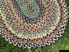 Antique Vintage Primitive Braided Rug Gorgeous Colors! Hand Made Clean