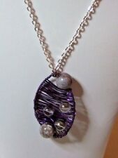 """Purple Wire Wrapped Pendant with Mystic Quartz & Fancy Agate Beads on 17"""" Chain"""