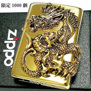Dragon Metal Gold Mirror Processing Onyx Limited Model Zippo Lighter Japan New